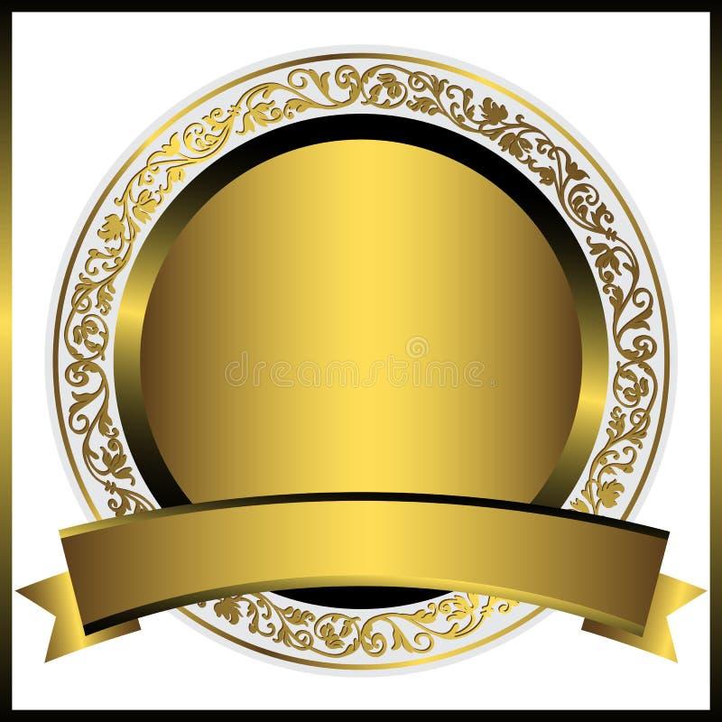 Διακοσμητικό χρυσό στρογγυλό πιάτο ελεύθερη απεικόνιση δικαιώματος