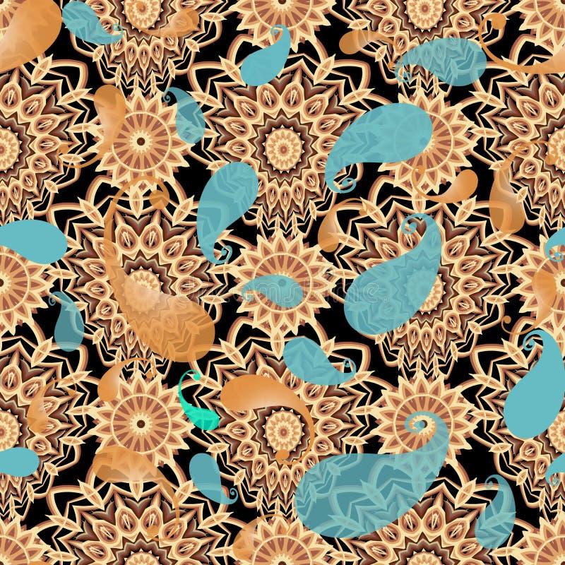Διακοσμητικό floral διανυσματικό άνευ ραφής σχέδιο του Paisley Κεραμωμένος ακμάστε διαμορφωμένος γύρω από τα mandalas Ζωηρόχρωμα  ελεύθερη απεικόνιση δικαιώματος