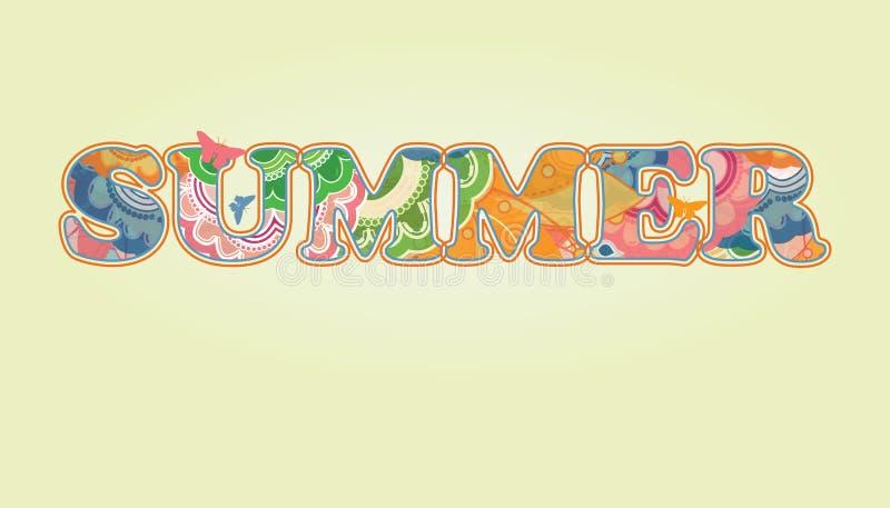 Διακοσμητικό Floral κείμενο  Καλοκαίρι ελεύθερη απεικόνιση δικαιώματος