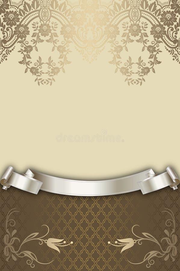 Διακοσμητικό floral υπόβαθρο με την κομψή κορδέλλα διανυσματική απεικόνιση