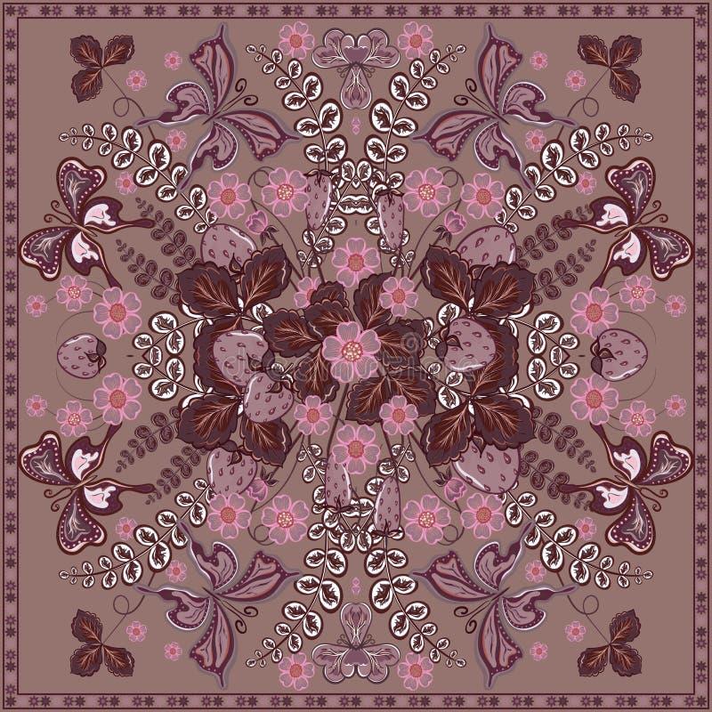 Διακοσμητικό floral υπόβαθρο χρώματος, φράουλα και περίκομψο πλαίσιο δαντελλών σχεδίων πεταλούδων Τυπωμένη ύλη υφάσματος σαλιών κ απεικόνιση αποθεμάτων