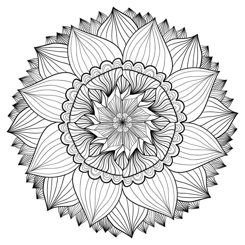 Διακοσμητικό floral mandala Σχέδιο διακοσμήσεων λουλουδιών Διάνυσμα για την ενήλικη χρωματίζοντας σελίδα ή τη διακόσμηση ελεύθερη απεικόνιση δικαιώματος