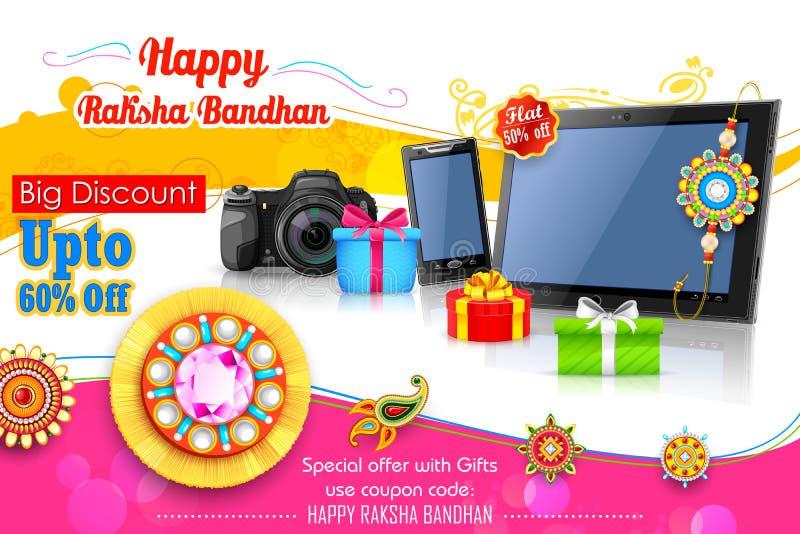 Διακοσμητικό rakhi για το έμβλημα προώθησης πώλησης Raksha Bandhan ελεύθερη απεικόνιση δικαιώματος