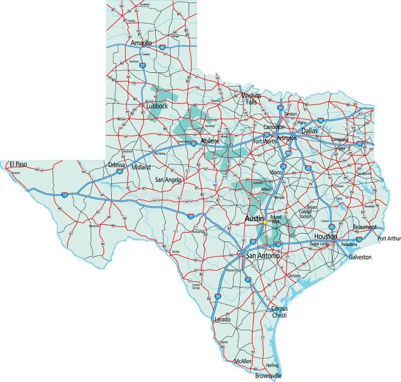 διακρατικός χάρτης Τέξας στοκ φωτογραφία με δικαίωμα ελεύθερης χρήσης