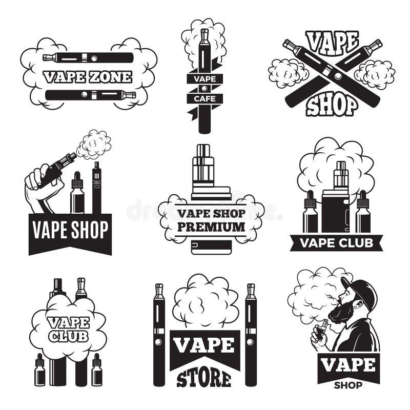 Διακριτικά και ετικέτες με τις απεικονίσεις του ατμού από το ηλεκτρικό τσιγάρο Εικόνες για η λέσχη ή το κατάστημα απεικόνιση αποθεμάτων