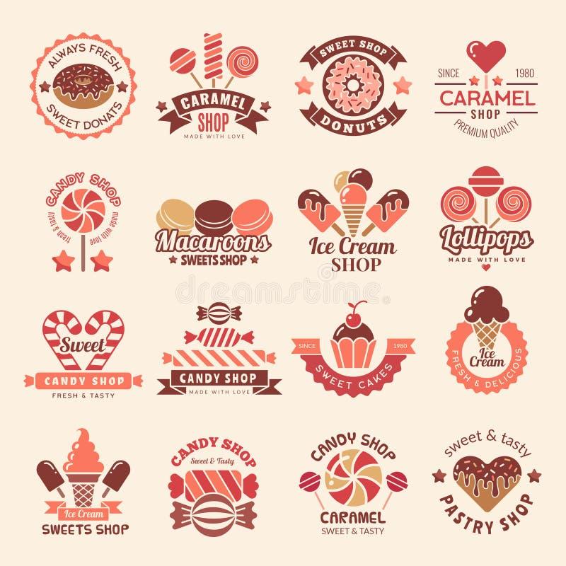 Διακριτικά καταστημάτων καραμελών Σύμβολο μπισκότων γλυκών cupcakes lollipop για τη διανυσματική συλλογή λογότυπων βιομηχανιών ζα ελεύθερη απεικόνιση δικαιώματος