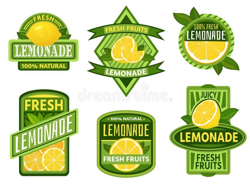 Διακριτικά λεμονάδας Το διακριτικό εμβλημάτων ποτών λεμονιών, εκλεκτής ποιότητας λεμονάδες χυμού λεμονιών νωπών καρπών συμβολίζει ελεύθερη απεικόνιση δικαιώματος