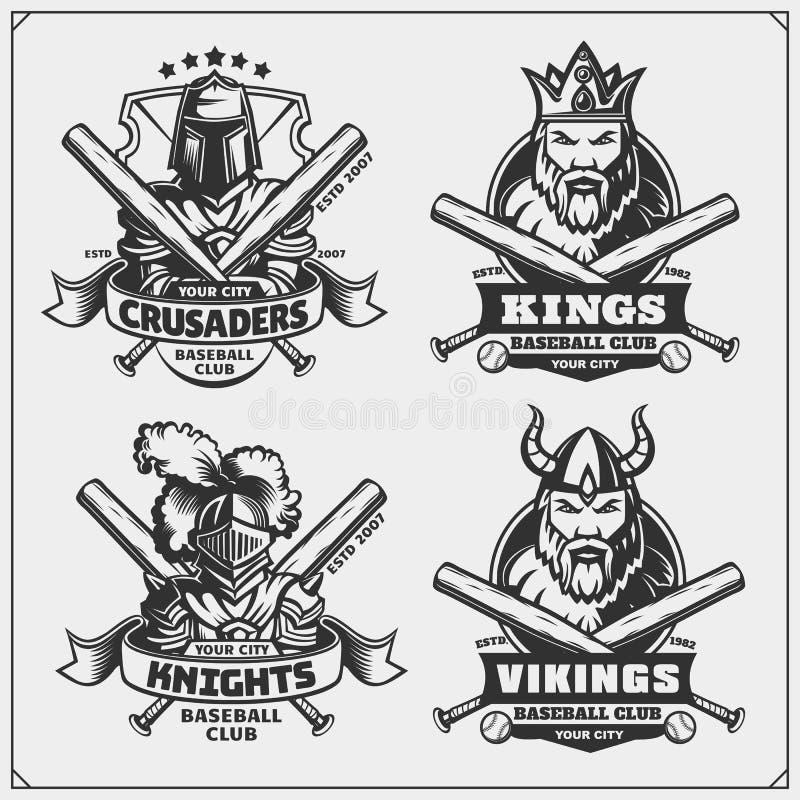 Διακριτικά μπέιζ-μπώλ, ετικέτες και στοιχεία σχεδίου Εμβλήματα αθλητικών λεσχών με Βίκινγκ, βασιλιάς, ιππότης και σταυροφόρος διανυσματική απεικόνιση