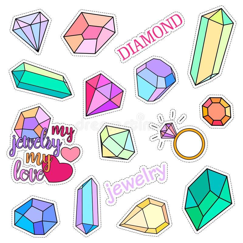 Διακριτικά μπαλωμάτων μόδας Διαμάντια και σύνολο κοσμήματος Αυτοκόλλητες ετικέττες, καρφίτσες, χειρόγραφη συλλογή σημειώσεων μπαλ απεικόνιση αποθεμάτων