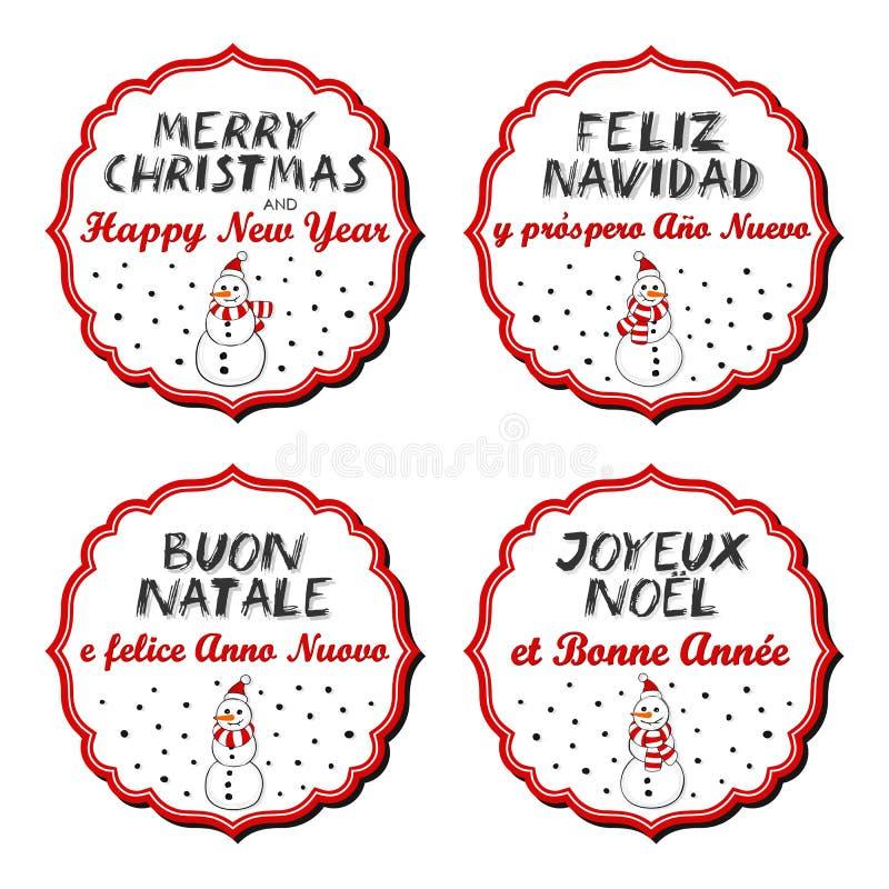 Διακριτικά Χαρούμενα Χριστούγεννας και πολύγλωσσα χιονανθρώπων καλής χρονιάς διανυσματική απεικόνιση