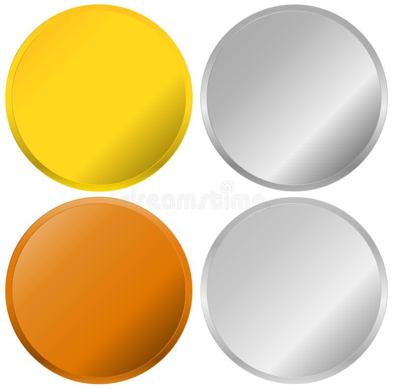 Διακριτικά χρυσού, ασημιών, χαλκού και λευκόχρυσου, σφραγίδες, κουμπιά απεικόνιση αποθεμάτων
