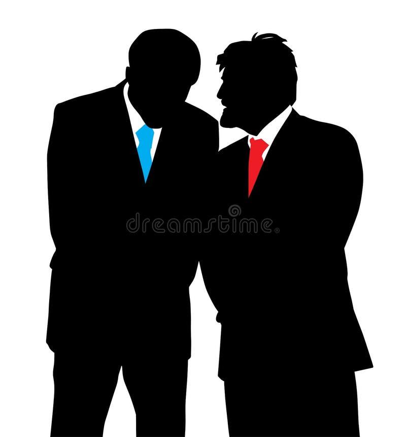Διακριτική συνομιλία δύο επιχειρηματιών που λέει ένα μυστικό απεικόνιση αποθεμάτων