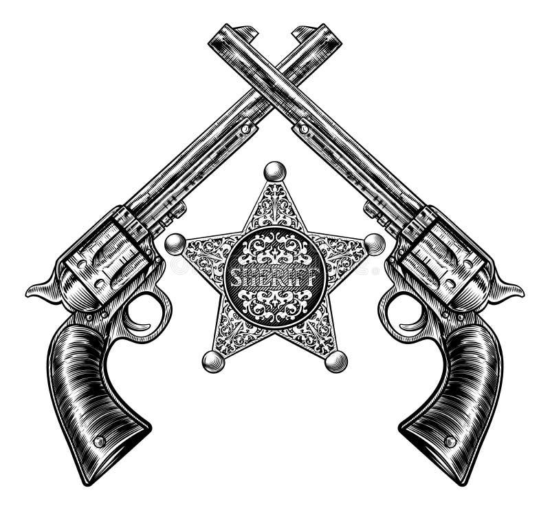Διακριτικό αστεριών σερίφηδων και διασχισμένα πιστόλια απεικόνιση αποθεμάτων