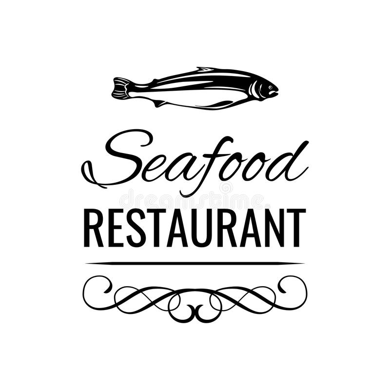 Διακριτικό επιλογών εστιατορίων θαλασσινών Διάνυσμα ετικετών τροφίμων ψαριών ελεύθερη απεικόνιση δικαιώματος