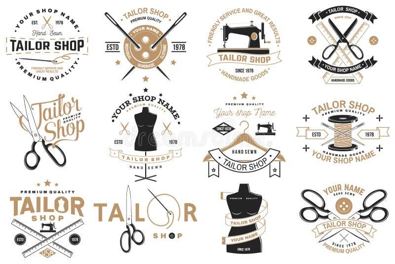 Διακριτικό καταστημάτων ραφτών r Έννοια για το πουκάμισο, την τυπωμένη ύλη, την ετικέτα γραμματοσήμων ή το γράμμα Τ Εκλεκτής ποιό διανυσματική απεικόνιση