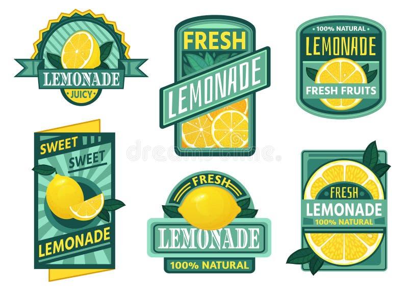 Διακριτικό λεμονάδας Το σιρόπι λεμονιών, τα φρέσκοι εμβλήματα λεμονάδων και ο χυμός φρούτων λεμονιών πίνουν το εκλεκτής ποιότητας διανυσματική απεικόνιση