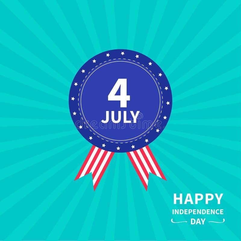 Διακριτικό με την ευτυχή ημέρα της ανεξαρτησίας Ηνωμένες Πολιτείες της Αμερικής υποβάθρου ηλιοφάνειας αστεριών και λουρίδων εικον ελεύθερη απεικόνιση δικαιώματος