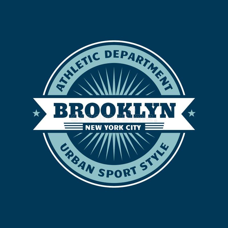 Διακριτικό μπλουζών - πόλη του Μπρούκλιν Νέα Υόρκη Αθλητικό τμήμα Αστικό αθλητικό ύφος r διανυσματική απεικόνιση