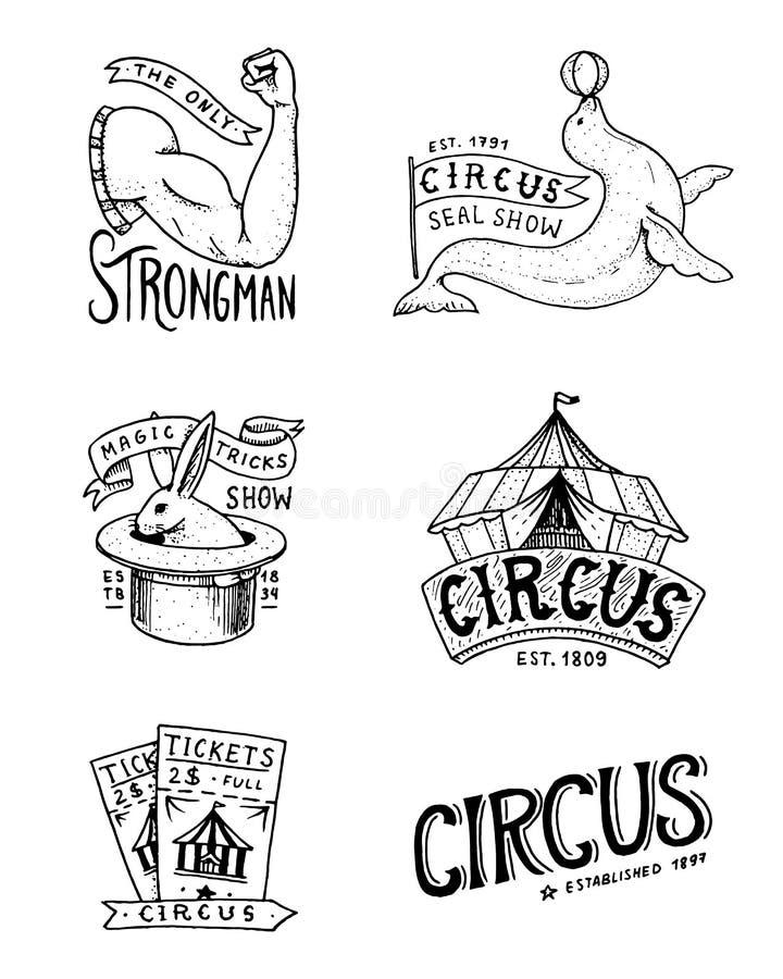 Διακριτικό τσίρκων καρναβαλιού Έμβλημα ή αφίσα με τα ζώα ισχυρός άνδρας και σφραγίδα, λαγοί στο καπέλο, μαγικό στη σκηνή φεστιβάλ διανυσματική απεικόνιση