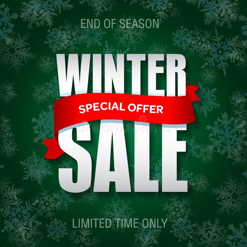 Διακριτικό χειμερινής πώλησης, ετικέτα, πρότυπο εμβλημάτων promo απεικόνιση αποθεμάτων