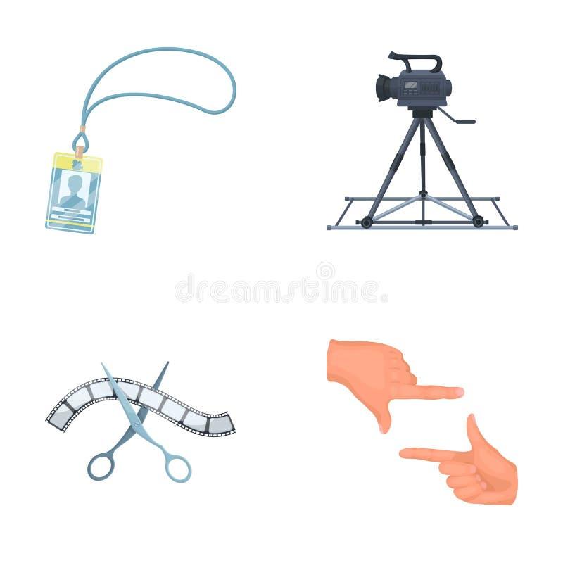 Διακριτικό, χειρονομία χειριστών και άλλα εξαρτήματα για τον κινηματογράφο Παραγωγή των εικονιδίων συλλογής σκηνικού κινηματογράφ διανυσματική απεικόνιση
