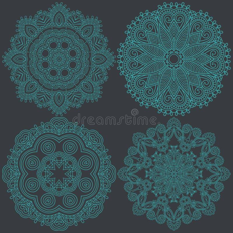 Διακόσμηση κύκλων, διακοσμητική στρογγυλή συλλογή δαντελλών απεικόνιση αποθεμάτων