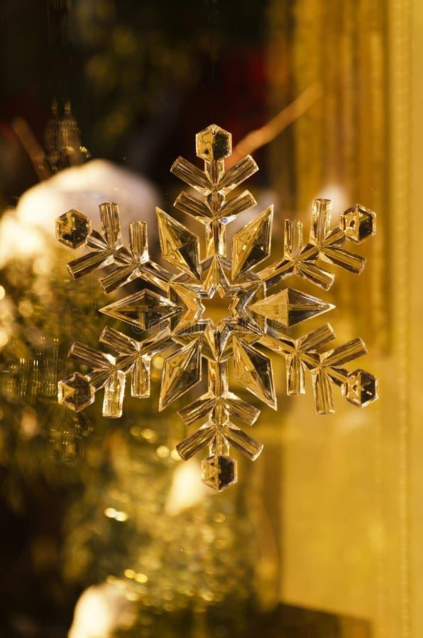 Διακόσμηση νιφάδων χιονιού Χριστουγέννων με το χρυσό τόνο στοκ φωτογραφίες με δικαίωμα ελεύθερης χρήσης