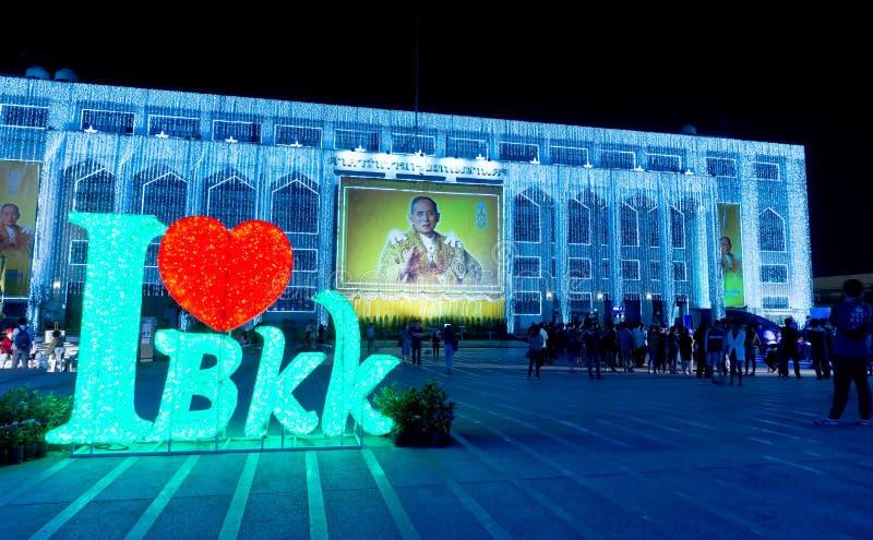 Διακόσμηση φω'των στο φως της Μπανγκόκ του φεστιβάλ ευτυχίας στοκ εικόνα