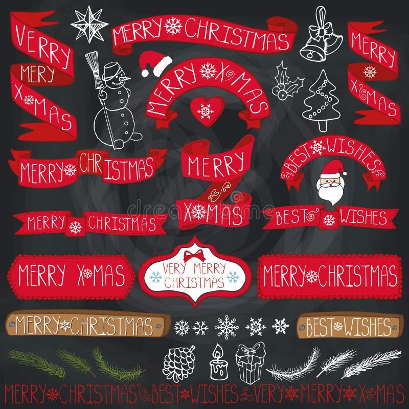 Διακόσμηση Χριστουγέννων, κορδέλλες, ετικέτες, εγγραφή chalkboard ελεύθερη απεικόνιση δικαιώματος
