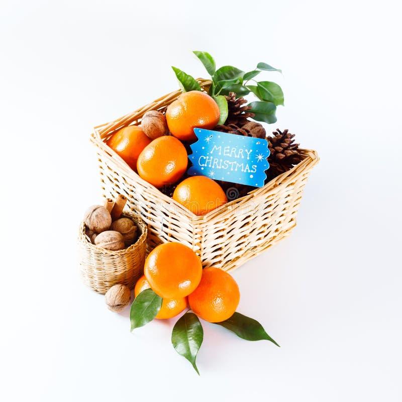 Διακόσμηση Χριστουγέννων με tangerines στοκ εικόνες με δικαίωμα ελεύθερης χρήσης