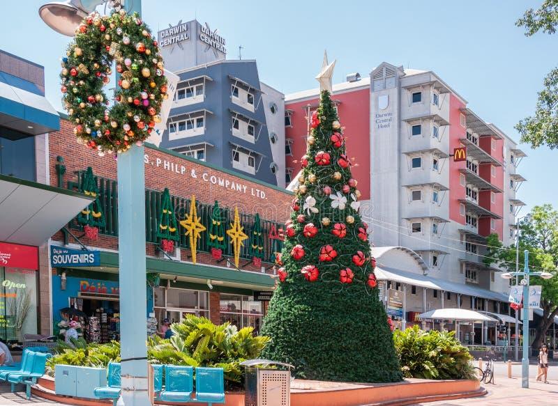 Διακόσμηση Χριστουγέννων στη λεωφόρο, Δαρβίνος, Αυστραλία στοκ φωτογραφίες