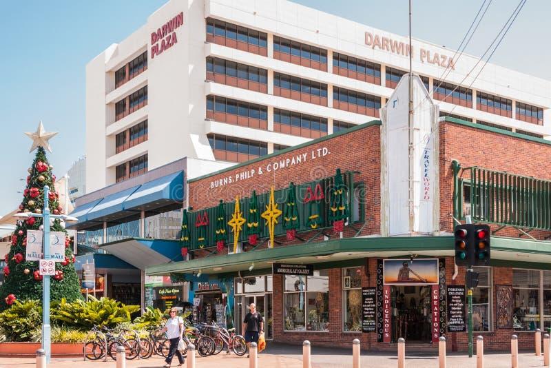 Διακόσμηση Χριστουγέννων στο κεντρικό δρόμο, Δαρβίνος, Αυστραλία στοκ φωτογραφίες