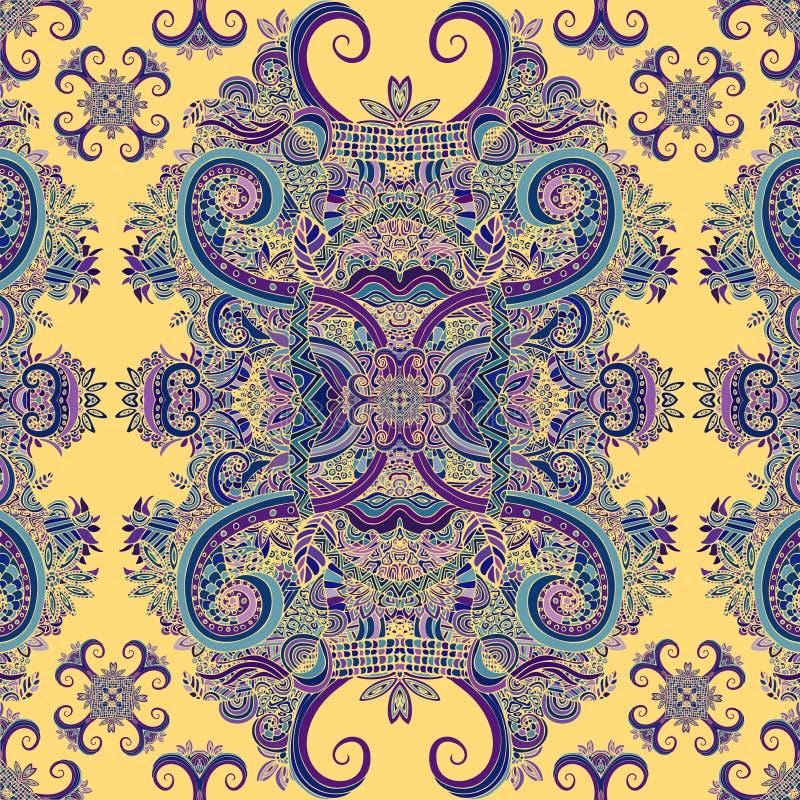 Διακόσμηση Boho, σύσταση Εθνικός διακοσμητικός floral Αφηρημένο floral φυσικό άνευ ραφής σχέδιο εγκαταστάσεων διακοσμητικός τρύγο διανυσματική απεικόνιση