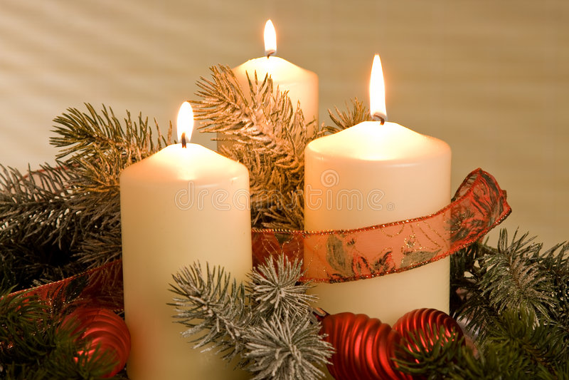 διακόσμηση chrismas κεριών στοκ φωτογραφία