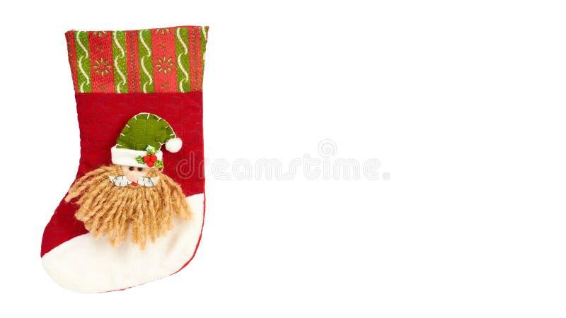Διακόσμηση Cristmas, κάλτσα δώρων που απομονώνεται στο άσπρο υπόβαθρο Νέο αντικείμενο έτους διάστημα αντιγράφων, πρότυπο στοκ φωτογραφία με δικαίωμα ελεύθερης χρήσης