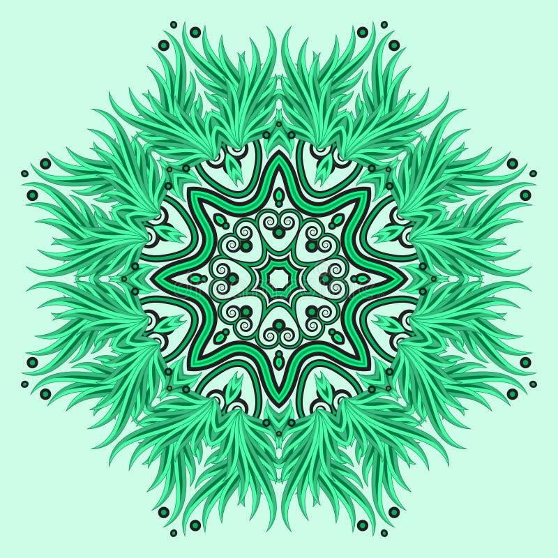Διακόσμηση Mandala στα πράσινα χρώματα απεικόνιση αποθεμάτων