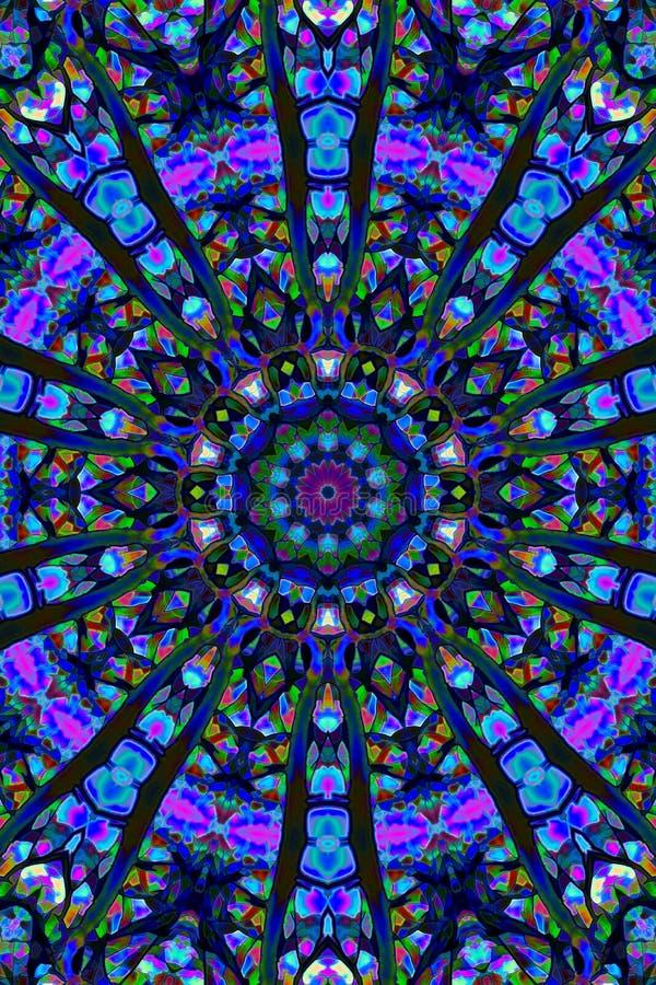 Διακόσμηση Mandala στη μορφή του φωτεινού snowflake καλειδοσκόπιου στοκ εικόνα