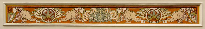 Διακόσμηση nouveau τέχνης των πουλιών και των λουλουδιών παραδείσου στοκ φωτογραφία