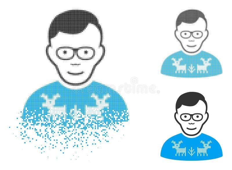 Διαλυμένο εικονίδιο τύπων Nerd εικονοκυττάρου ημίτονο με το πρόσωπο απεικόνιση αποθεμάτων