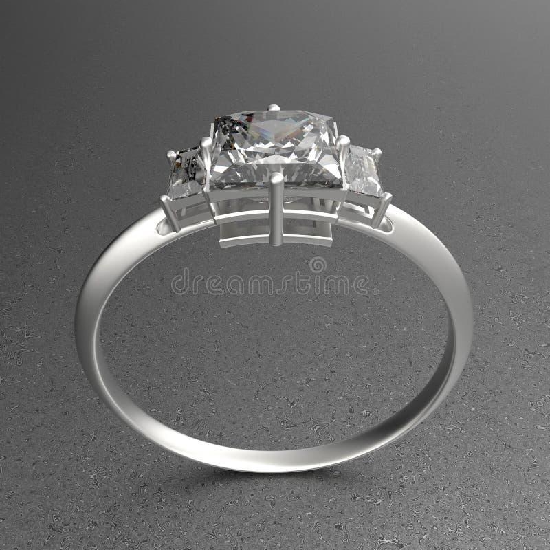 Διαμάντι γαμήλιων δαχτυλιδιών wiith τρισδιάστατη απεικόνιση στοκ εικόνα