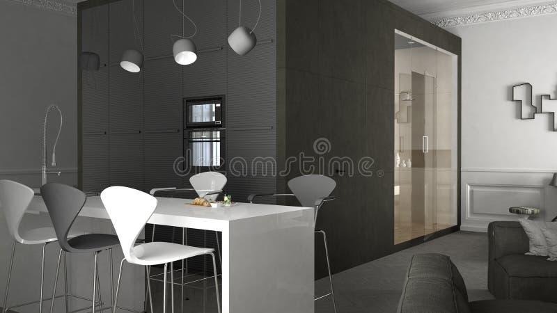 Διαμέρισμα ένας-δωματίων, εσωτερικό σχέδιο ελεύθερη απεικόνιση δικαιώματος