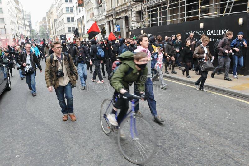 Διαμαρτυρία αυστηρότητας στο Λονδίνο στοκ εικόνα με δικαίωμα ελεύθερης χρήσης