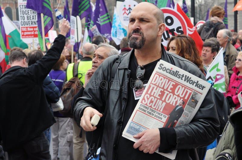 Διαμαρτυρία αυστηρότητας του Λονδίνου στοκ φωτογραφία