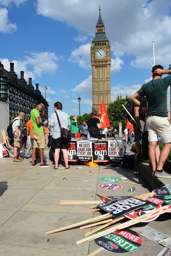 Διαμαρτυρία αυστηρότητας του Λονδίνου στοκ εικόνα