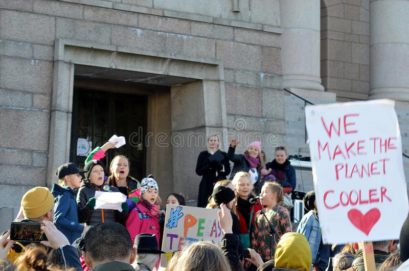 Διαμαρτυρία ενάντια στην κυβερνητική απραξία στη κλιματική αλλαγή, Ελσίνκι, Φινλανδία στοκ εικόνες