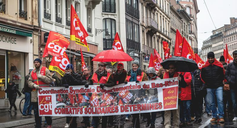Διαμαρτυρία ενάντια στη γαλλική κυβερνητική σειρά Macron των μεταρρυθμίσεων peopl στοκ εικόνα με δικαίωμα ελεύθερης χρήσης