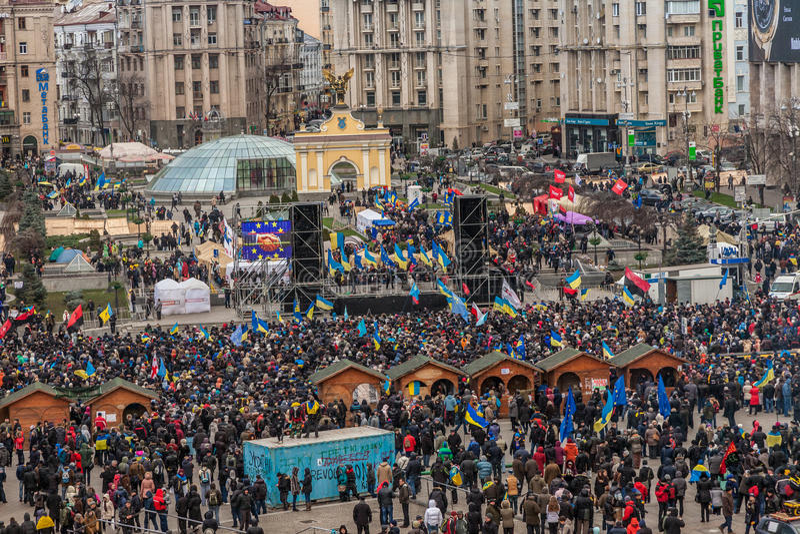 Διαμαρτυρία σε Euromaydan στο Κίεβο ενάντια στον Πρόεδρο Yanukovych στοκ φωτογραφία με δικαίωμα ελεύθερης χρήσης