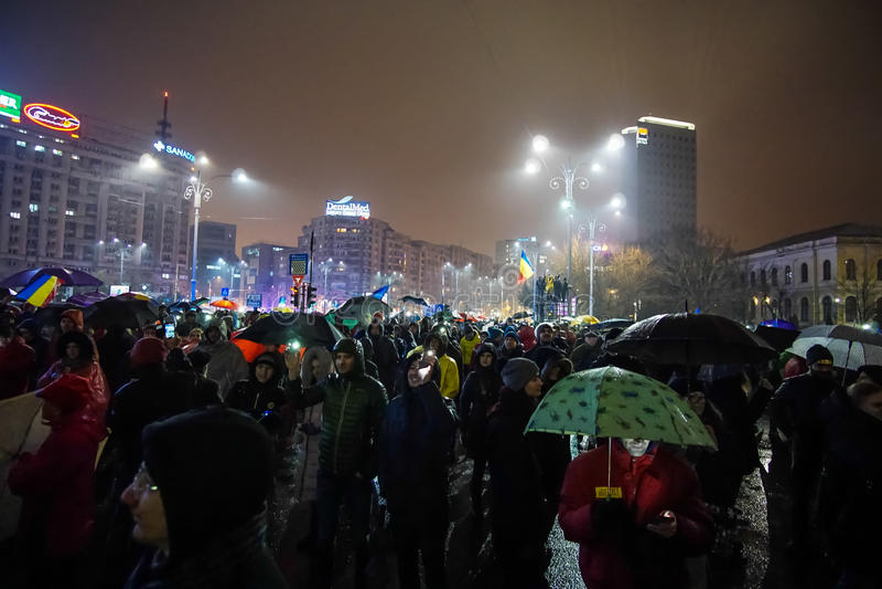 Διαμαρτυρία στο Βουκουρέστι, Ρουμανία στοκ εικόνες