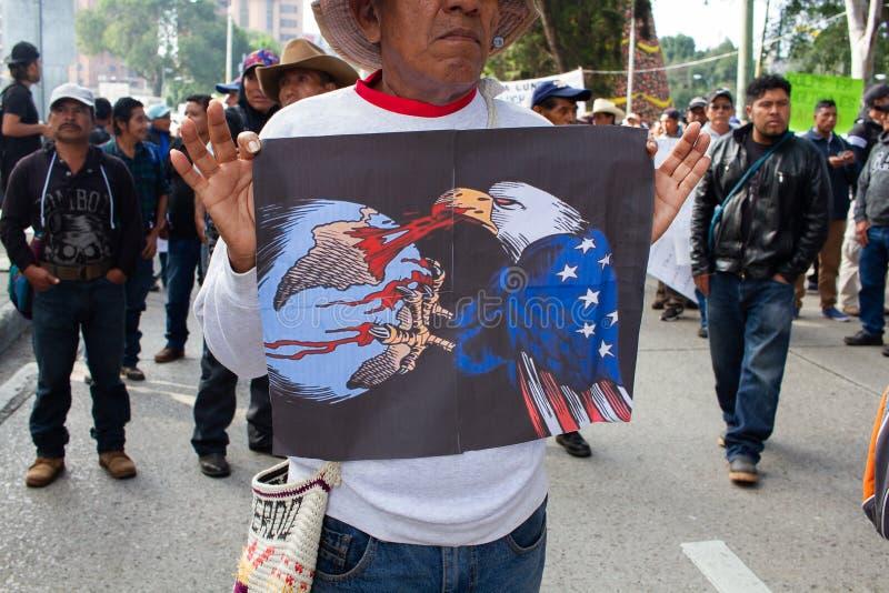 Διαμαρτυρία της Πολιτικής Οργάνωσης της Γουατεμάλας Εξορία του Evo Morales και κατάσταση στη Βολιβία στοκ εικόνα