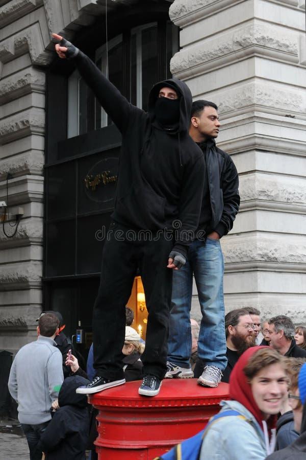 διαμαρτυρία του Λονδίνου αυστηρότητας στοκ εικόνα με δικαίωμα ελεύθερης χρήσης